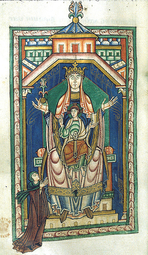 Abbess kneeling at the feet of the Virgin and Child, Lansdowne 383 f.165v, c.1130-40