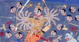Detail showing Ravana losing his heads