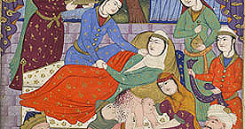 Scene showing Rudabeh giving birth to Rostam