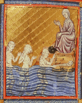 Pharaoh's daughter finds baby Moses, Add.27210, f.9