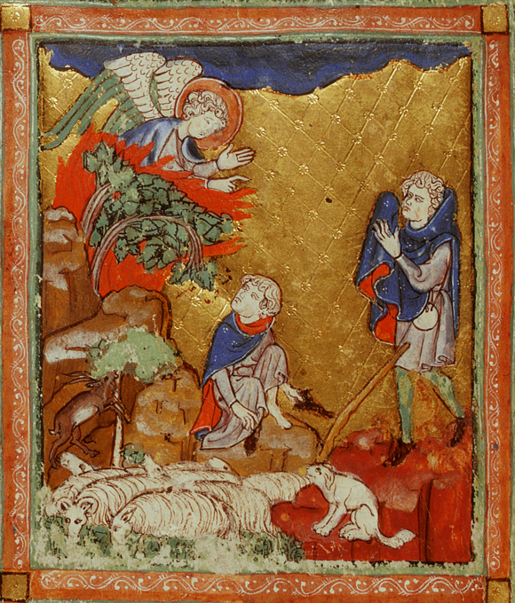 God appears to Moses in the form of a burning bush, Add.27210, f.10v