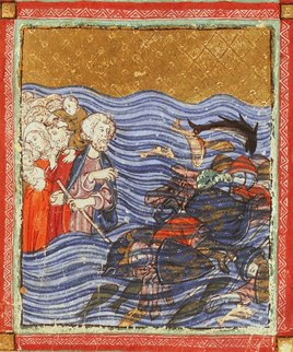 The Israelites escape over the Red Sea, while Pharaoh and his army drown, Add.27210, f.14v