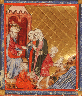Pharaoh orders midwives to kill all the first born male babies of the Israelites, Add.27210, f.8v