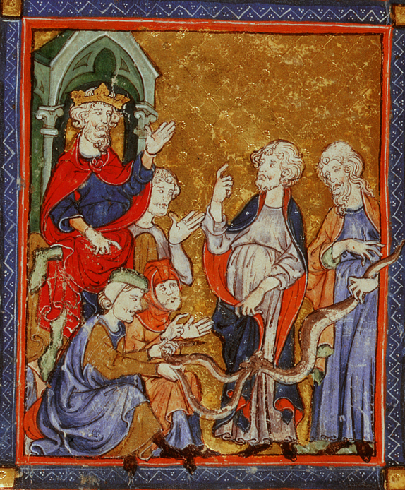 Moses and Aaron ask Pharaoh to free the Israelites, Add.27210, f.11