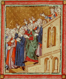 Pharaoh commands the Israelites to leave Egypt, Add.27210, f.14v