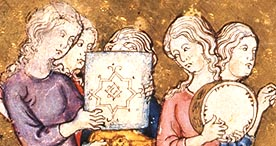 Illustrations from Golden Haggadah showing people preparing for Passover