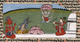 Hanuman carrying the medicine mountain back from the Himalayas.
