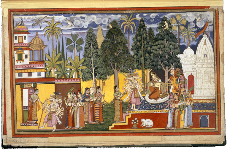Hanuman, Sita and Ravana at the Palace in Lanka, IO San 3621, f.3
