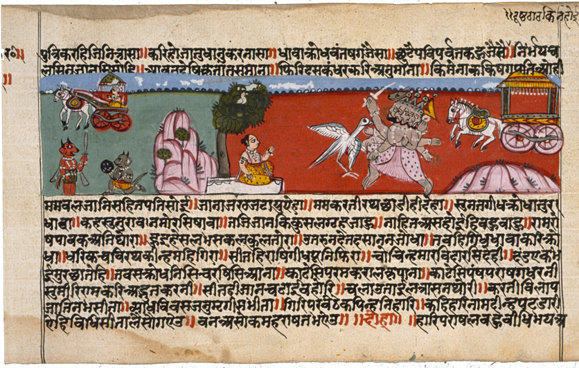 Ravana attempting to carry Sita off in his chariot.