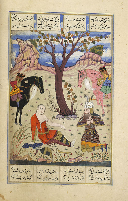 Sohrab dies in front of Rostam, IO Islamic 1256, f.102v