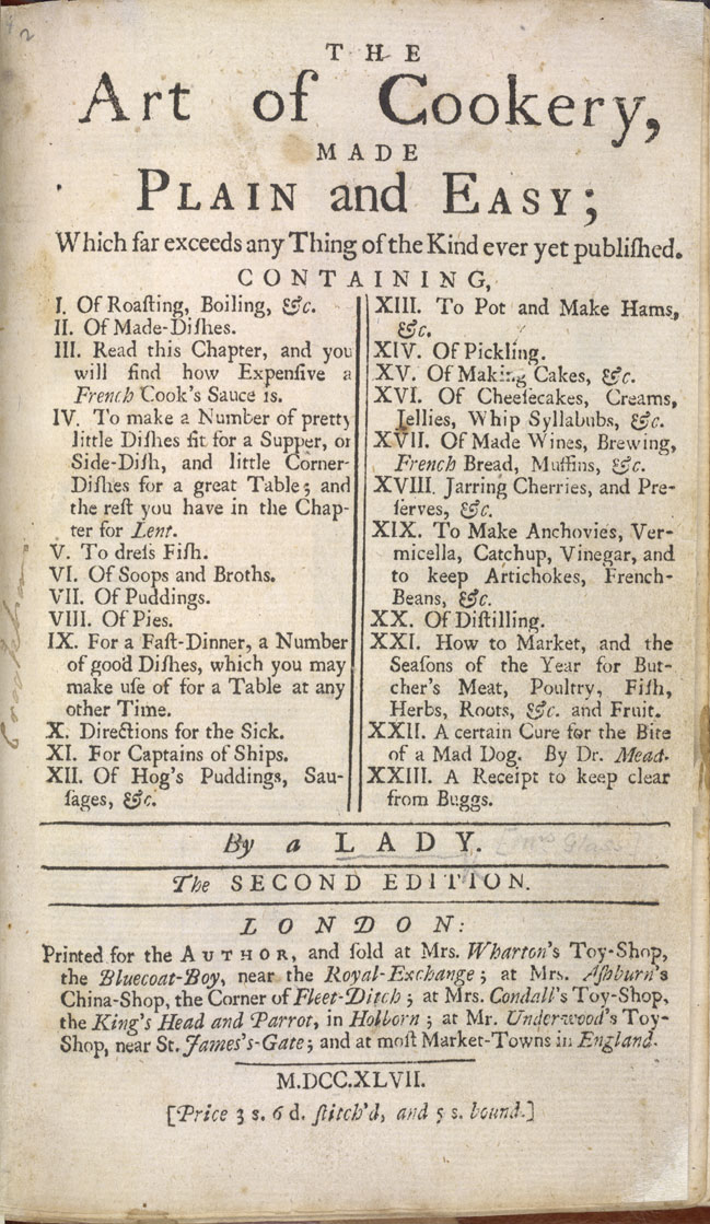 Image of The Art of Cookery - Title page