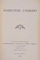Detail of Hard-Time Cookery - Title page