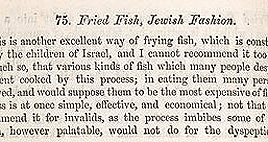 Detail of Soyer's Shilling Cookery - Jewish Fish and Kitchen Utensils