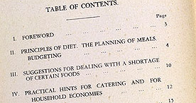 Detail of Hard-Time Cookery - Contents and Foreword