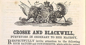 Detail of Soyer's Shilling Cookery - Advertisement for Crosse and Blackwell