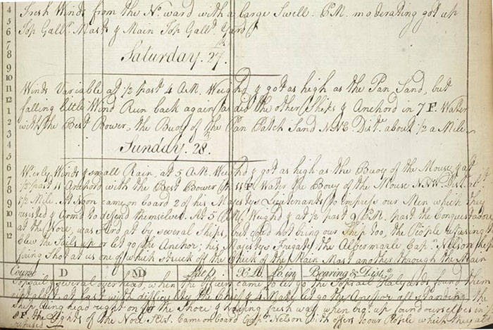 Image of the Log Book entry for the Halsewell - 28th Oct 1781