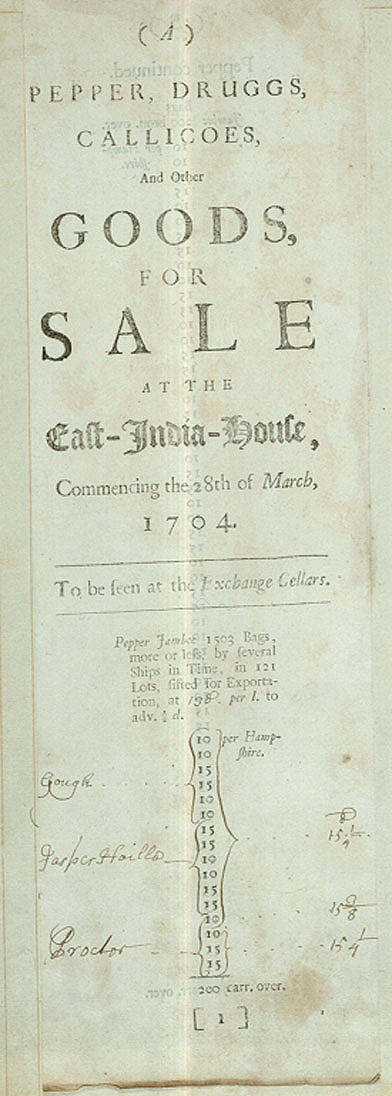 Image of East India Company's Sale Catalogue - Pepper