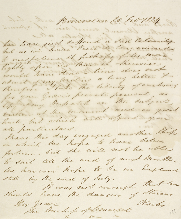 A letter from Raffles to the Duchess of Somerset