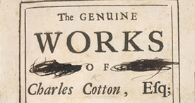 Detail of The Genuine Works of Charles Cotton - Title Page