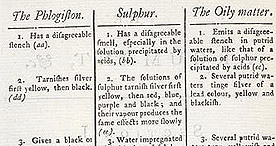 Detail of The Argument of Sulphur - Table p.2