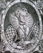 Portrait of Elizabeth I from Elstrakes Baooke of Kings 1618.
