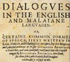 Cover of Dialogues in the English and Malaiane languages.