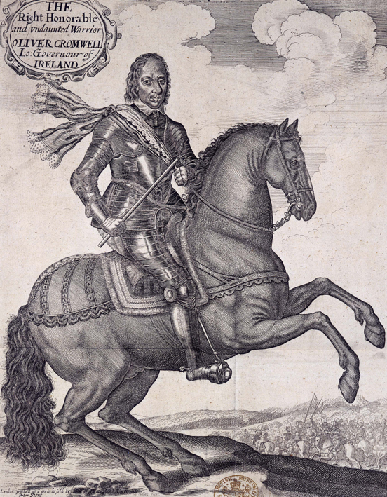 Cromwell on horseback 1650.