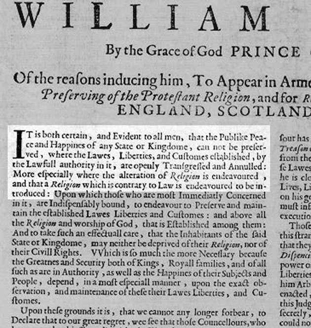 Declaration of His Highness William Henry.  Enlargement of top left section.