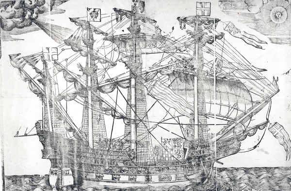 Woodcut of a ship believed to be the Ark Royal