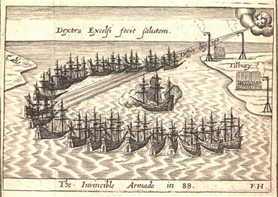 The Invincible Armada from A thankful rememberence of God's mercie, 1588.
