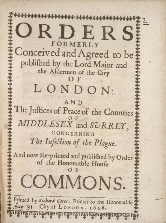 Orders by the Lord Mayor against the Plague