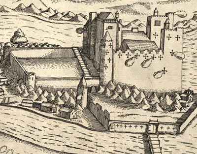 An engraving of Castle Cahir Estate 1599.  Detail of gun-smoke