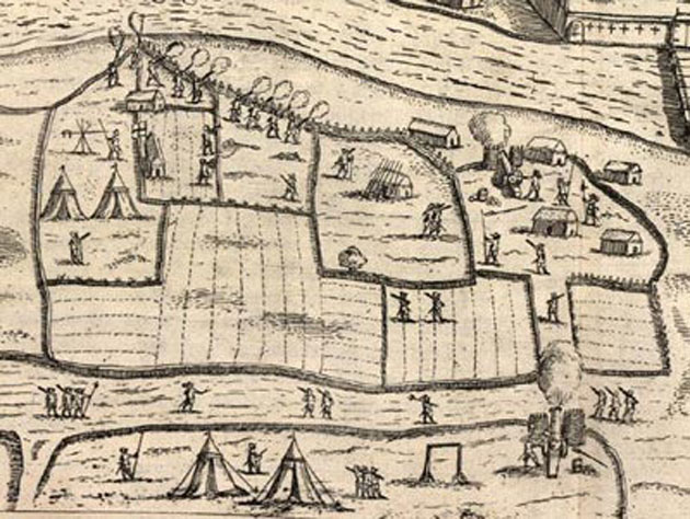 An engraving of Castle Cahir Estate 1599.  Detail of a Military encampment.