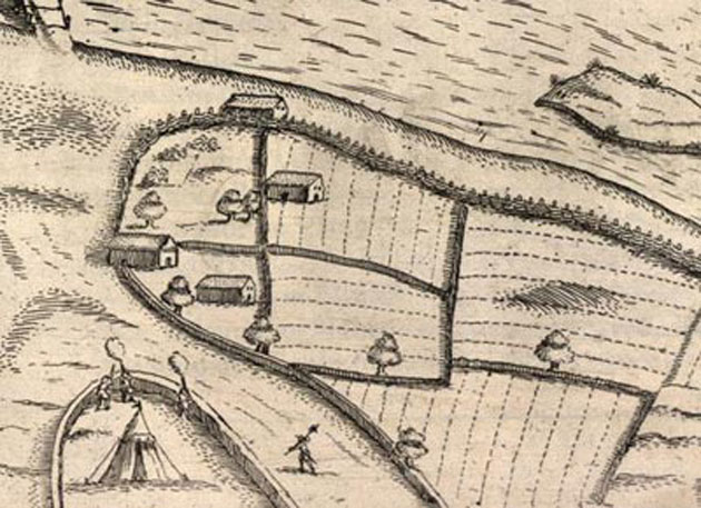 An engraving of Castle Cahir Estate 1599.  Detail of fields.