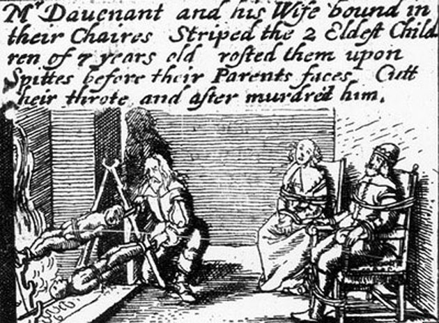 Roasted on spittes before their parents faces.  Image from 1646