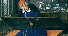 Illuminated manuscript showing a scribe