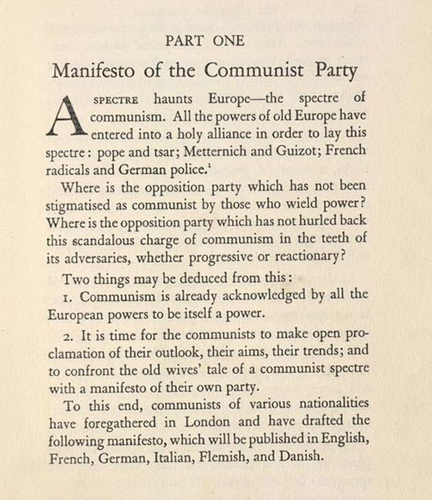Marx publishes Manifesto