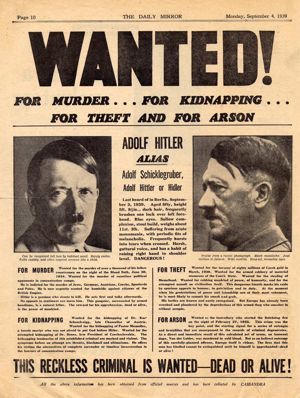 Wanted poster for Hitler