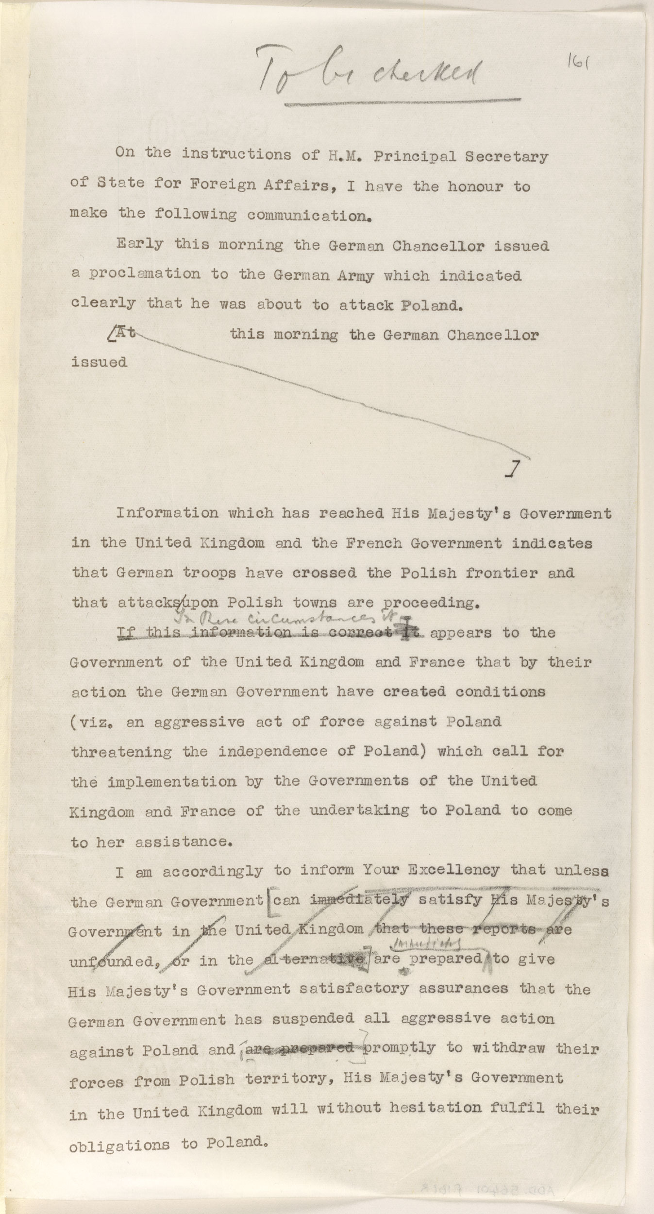 World War II ultimatum letter