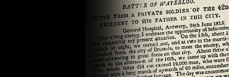 Battle of Waterloo letter