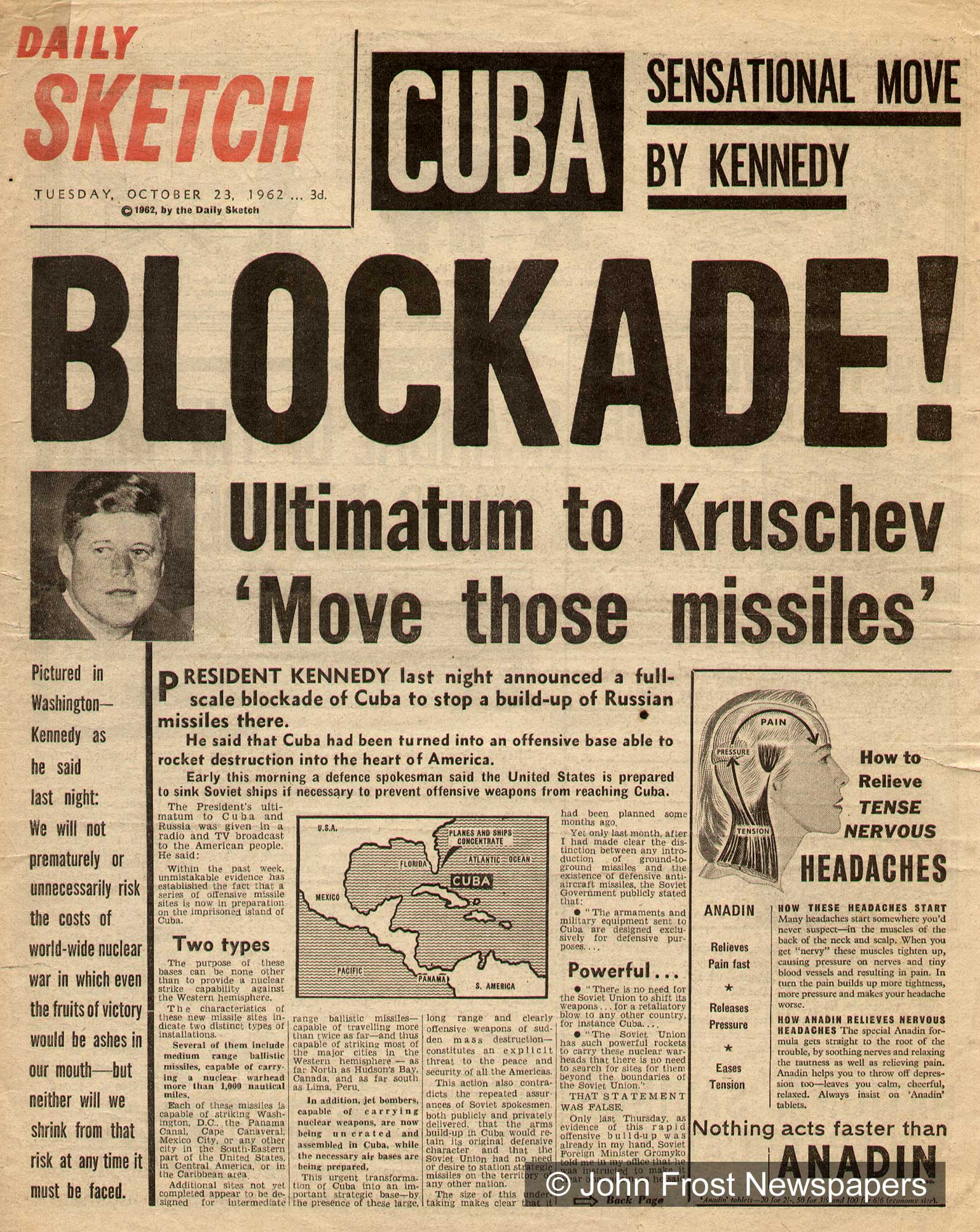 Newspaper Headline Cuban Missile Crisis  Civil Defense Cold War