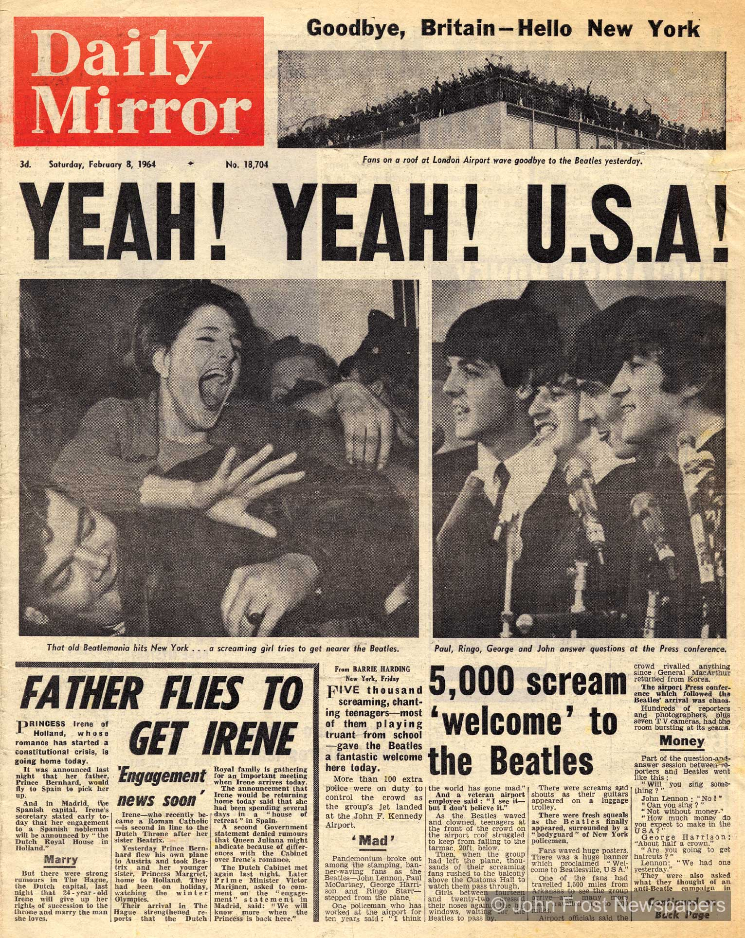 Beatles arrive in the USA