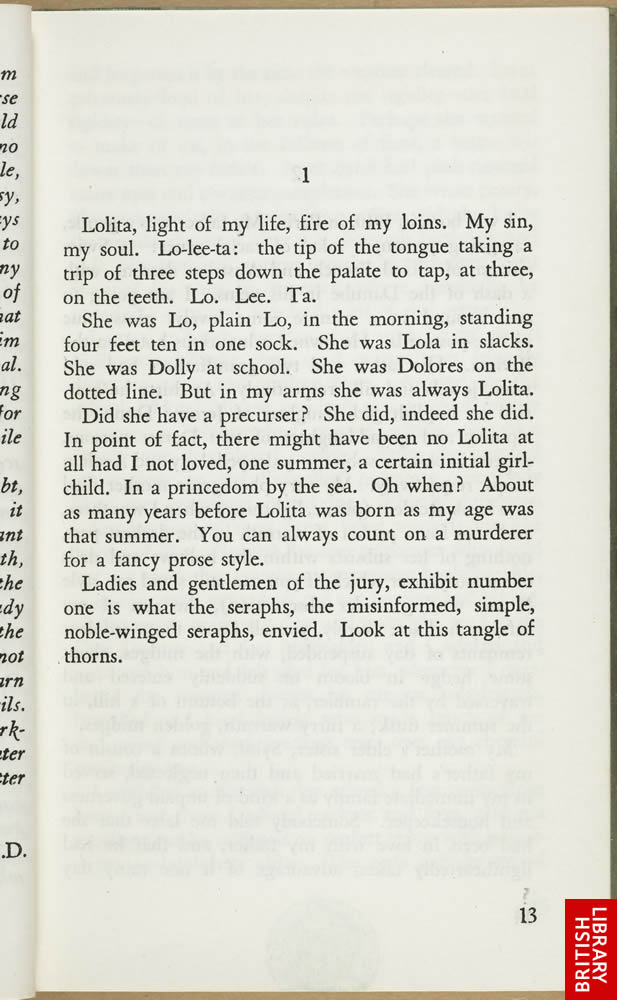 Opening of Lolita by Vladimir Nabokov (Volume One), published by the Olympia Press