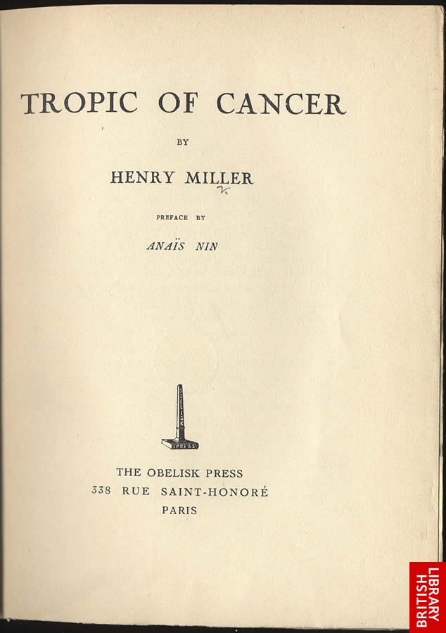 Title page to Tropic of Cancer by Henry Miller Published by the Obelisk Press, Paris