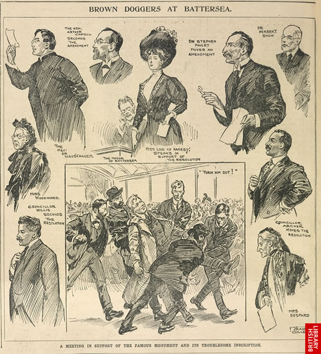 Drawing - newspaper illustration of a rowdy meeting