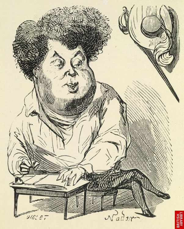 Caricature by Noder - fame had made Dumas' features immediately recognisable