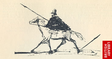 Image of Pushkin self-caricature - suggesting a reference to the Bronze Horseman