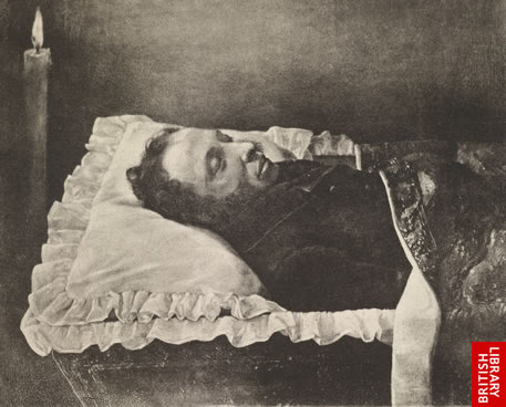 Image of Pushkin in his coffin