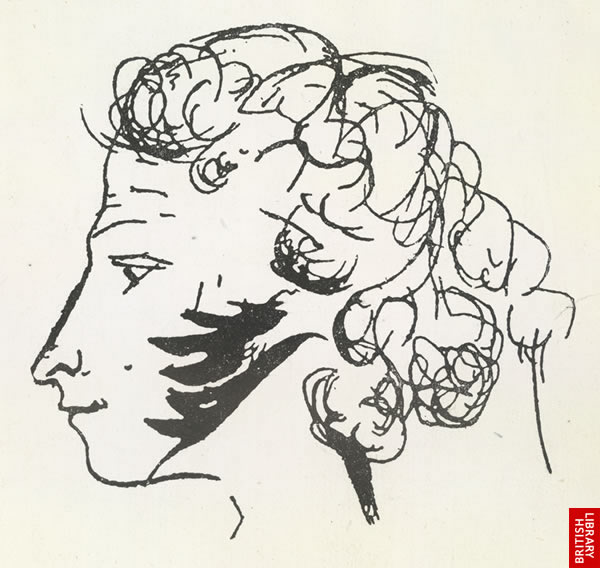 Self-caricature from a Pushkin notebook