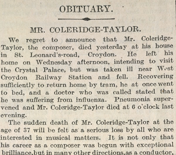 Samuel Coleridge-Taylor's obituary in the Times